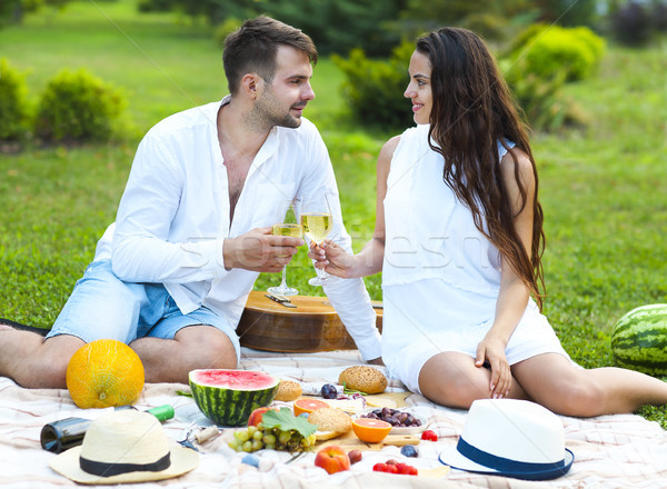 Young couple on summer picnic Stock photo © dashapetrenko
