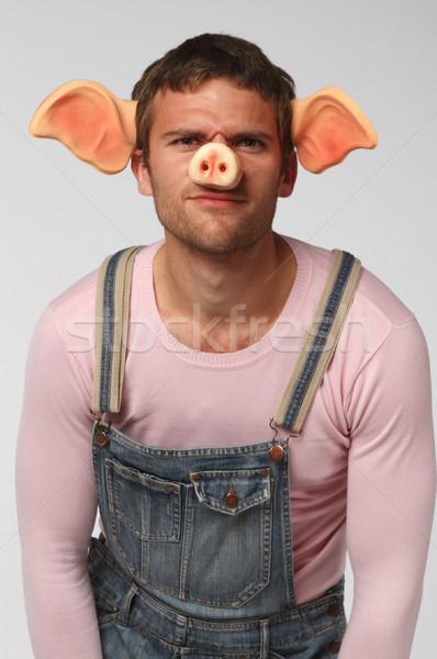 Homme porc costume fou gris Photo stock © dashapetrenko