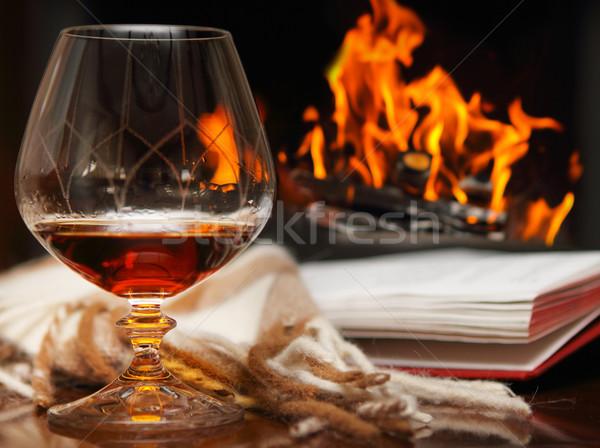コニャック 暖炉 図書 家 ワイン ホット ストックフォト © dashapetrenko