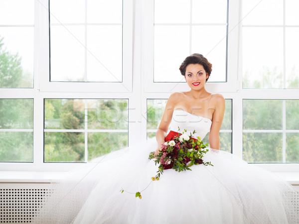 Bruid ongebruikelijk sappig bloemen Stockfoto © dashapetrenko