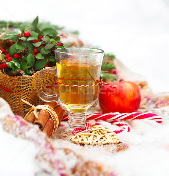 Christmas still life with a Christmas decorations and hot tea ne Stock photo © dashapetrenko