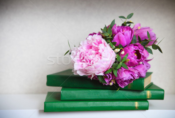 Wedding bouquet of a pink  peonies, tulips and lily of the valle Stock photo © dashapetrenko
