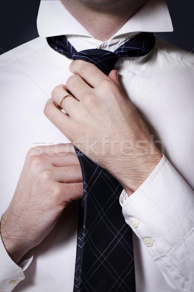Zakenman stropdas shirt hand man Stockfoto © dashapetrenko