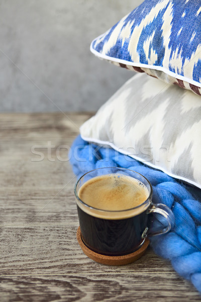 Blu grigio cuscini Cup caffè legno Foto d'archivio © dashapetrenko