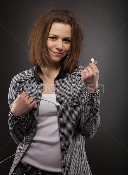 Portrait brunette fille casque beauté Photo stock © dashapetrenko