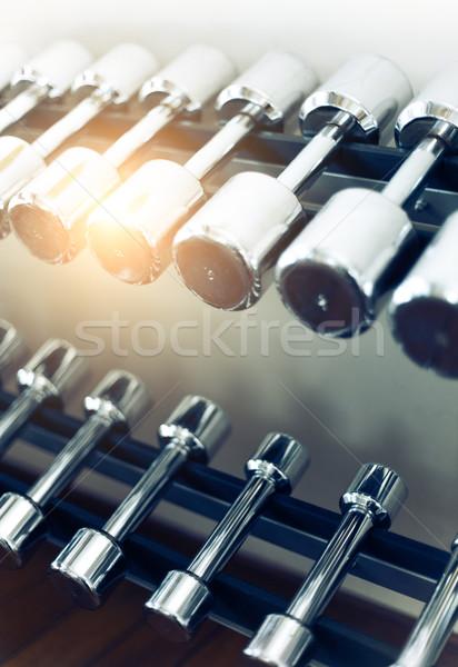 Dumbbells in modern sports club Stock photo © dashapetrenko