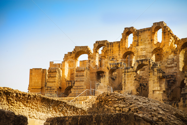 Ruins of the largest colosseum in in North Africa. El Jem,Tunisi Stock photo © dashapetrenko