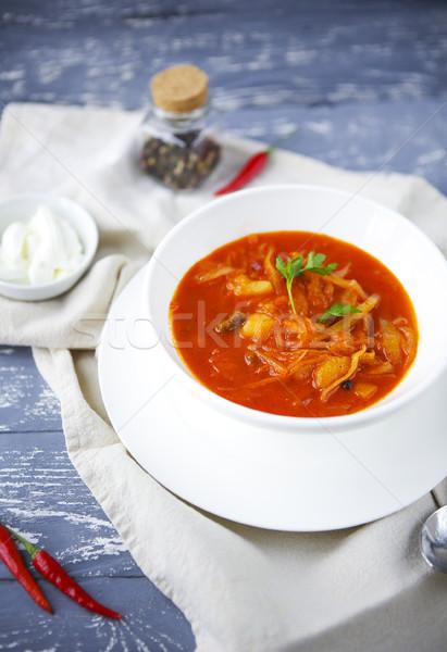 Russo vermelho sopa verde Óleo Foto stock © dashapetrenko
