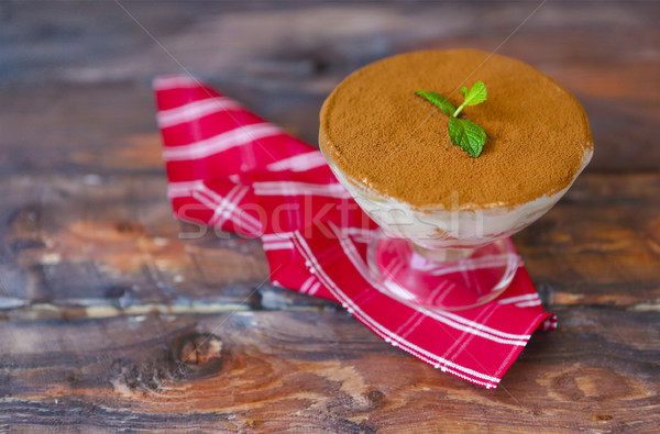 Tiramisu vidrio taza torta italiano Foto stock © dashapetrenko