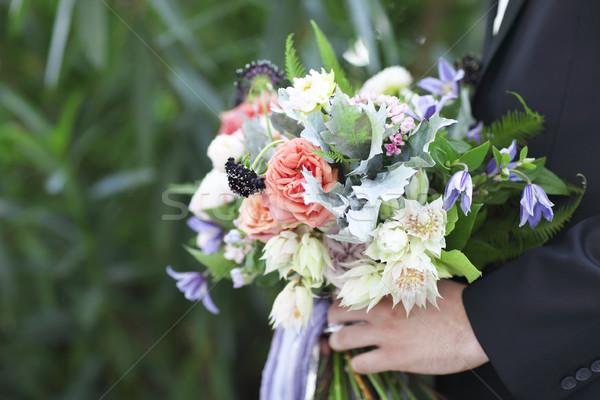 Groom with beautiful bouquet, closeup Stock photo © dashapetrenko