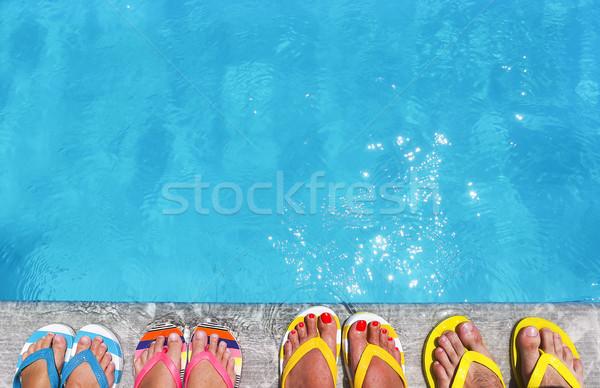 Láb papucs kő nyár család vakáció Stock fotó © dashapetrenko