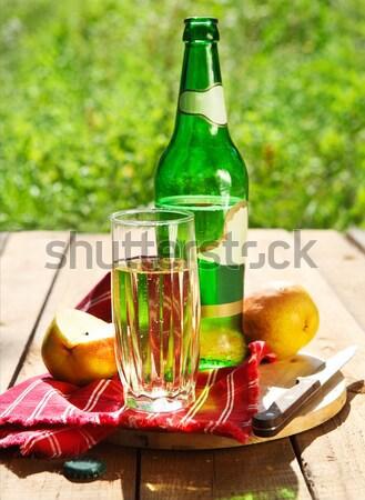 Armut elma şarabı bir yaz piknik gıda Stok fotoğraf © dashapetrenko