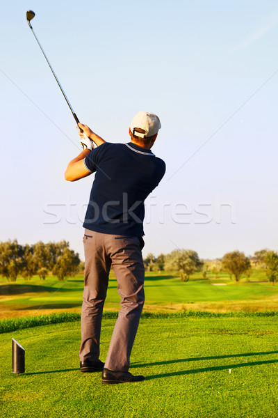 Athletic young man playing golf Stock photo © dashapetrenko