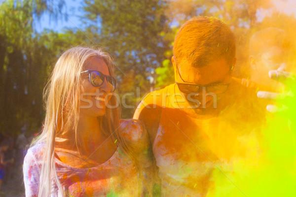 Feliz Pareja amor color festival retrato Foto stock © dashapetrenko