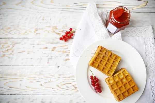 Kırmızı frenk üzümü reçel karpuzu beyaz plaka Stok fotoğraf © dashapetrenko
