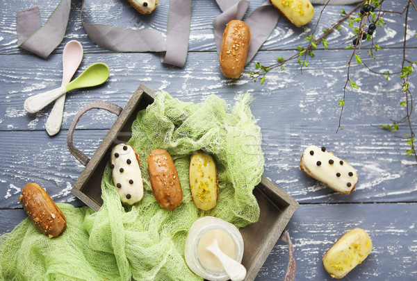 Chocolade slagroom donkere traditioneel frans dessert Stockfoto © dashapetrenko