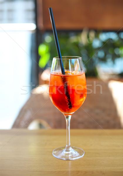 Cocktail glass on wooden table Stock photo © dashapetrenko