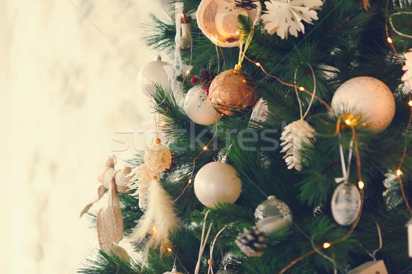 Abstract Christmas tree background with golden and white decorat Stock photo © dashapetrenko