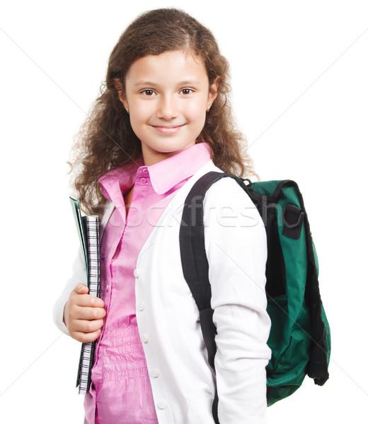 écolière sac à dos isolé blanche école heureux Photo stock © dashapetrenko