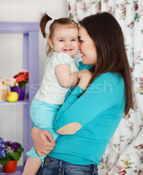 Сток-фото: счастливым · улыбаясь · матери · один · год