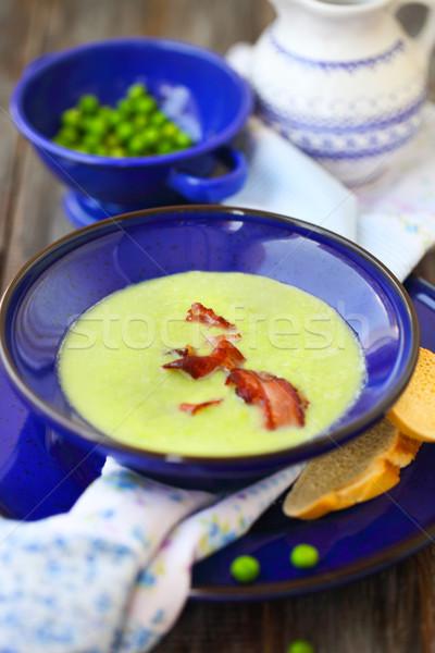 Bowl of vegetable soup with ham  Stock photo © dashapetrenko