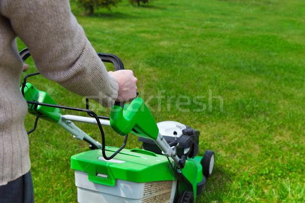 Jardinier pelouse Homme rassemblement fleur maison Photo stock © dashapetrenko
