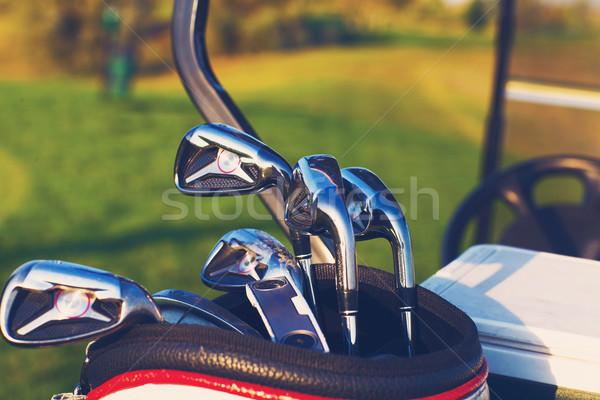 гольф-клубов зеленый области лет закат гольф Сток-фото © dashapetrenko