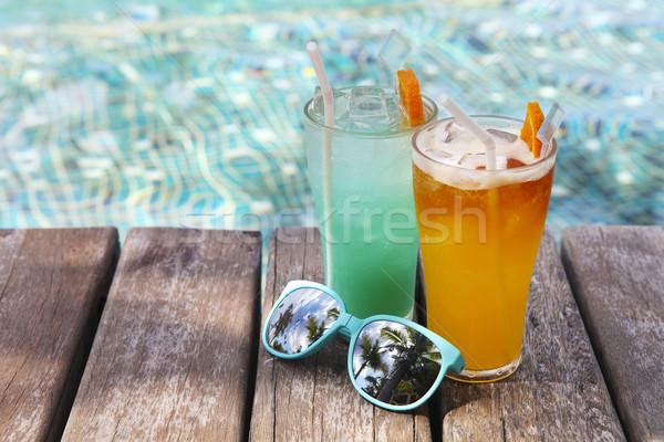Stockfoto: Cocktails · zwembad · water · zonnebril · strand · hemel