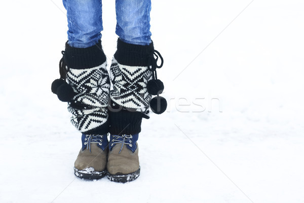 Legs of woman walking in winter park with copy space area for a  Stock photo © dashapetrenko