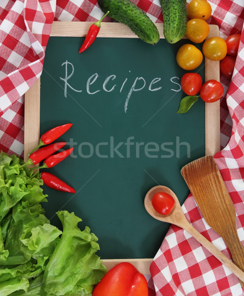 Stock photo: Vegetables still life with recipes blank