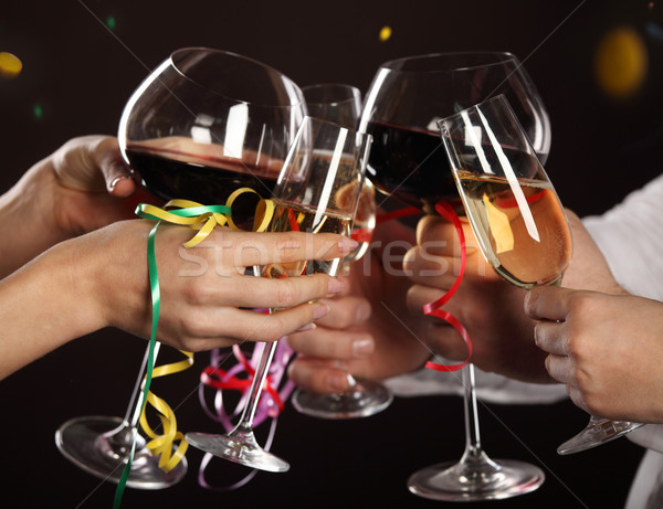 Uroczystości ludzi okulary białe wino Zdjęcia stock © dashapetrenko
