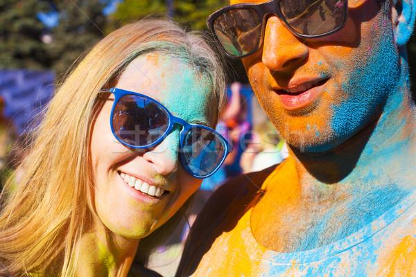 Glücklich Paar Liebe Farbe Festival Porträt Stock foto © dashapetrenko