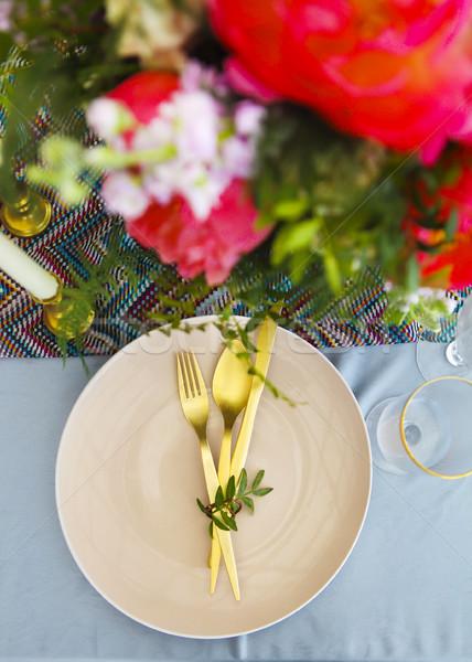 Stockfoto: Tabel · vintage · stijl · ingericht · bloemen · roze