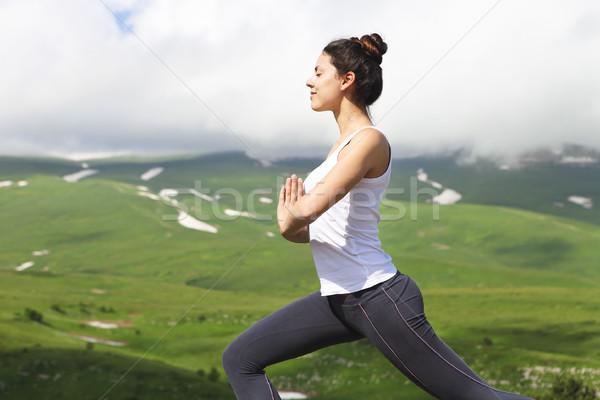 魅力的な 若い女性 ヨガのポーズ バランス ストレッチング 先頭 ストックフォト © dashapetrenko