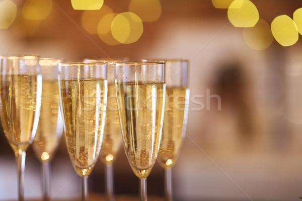 Champagne verres or fête célébration fond Photo stock © dashapetrenko