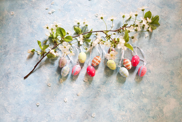Easter background with Easter eggs and spring flowers Stock photo © dashapetrenko