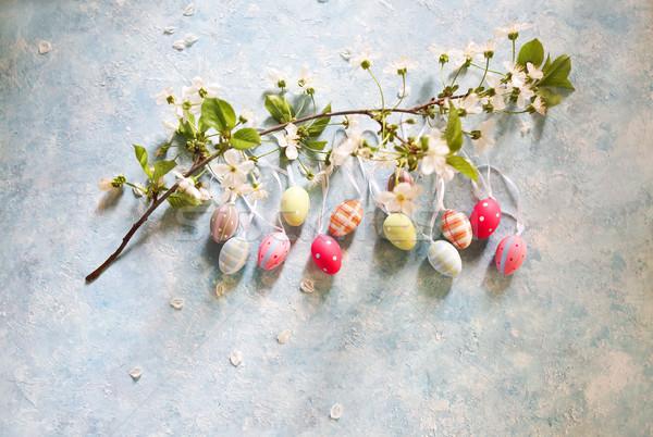 Húsvét húsvéti tojások tavaszi virágok felső kilátás copy space Stock fotó © dashapetrenko