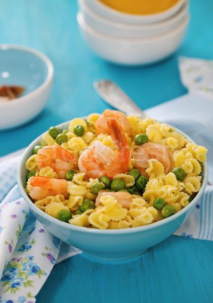 Garnalen salade spaghetti groene voedsel Blauw Stockfoto © dashapetrenko