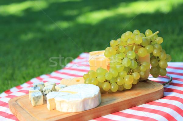 Foto stock: Queijo · branco · uvas · festa · verde