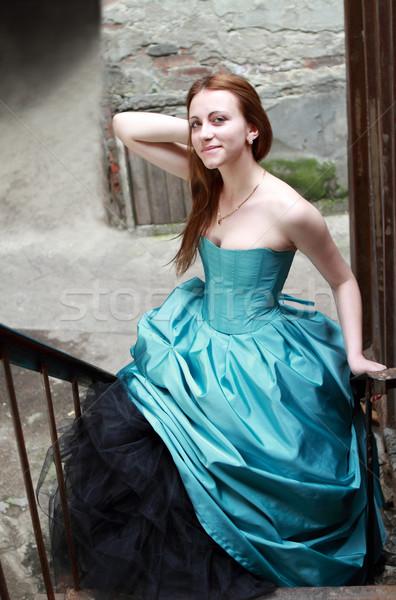 Piros lány gyönyörű kék ruha romantikus Stock fotó © dashapetrenko