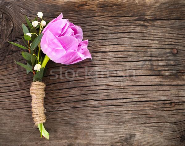 Purple tulip buttonhole for groom on the wooden background Stock photo © dashapetrenko