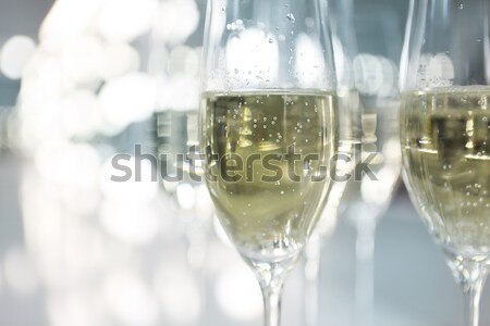 Glasses of champagne decorated with lavender  Stock photo © dashapetrenko