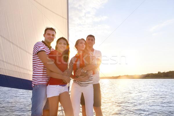 улыбаясь друзей яхта палуба приветствие путешествия Сток-фото © dashapetrenko