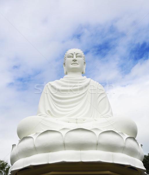 Standbeeld buddha blauwe hemel tempel Vietnam gezicht Stockfoto © dashapetrenko