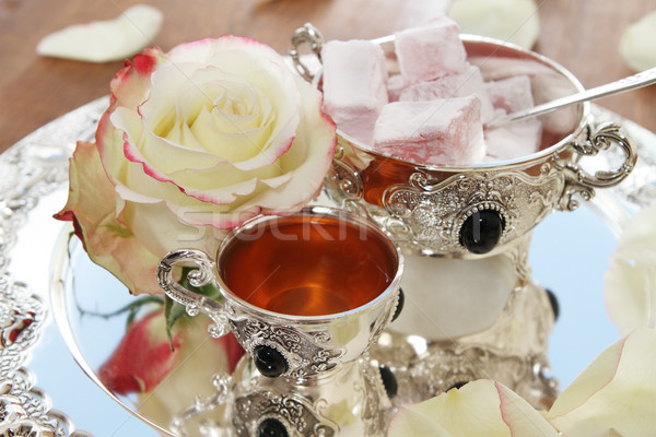 East sweets on silver ware  Stock photo © dashapetrenko