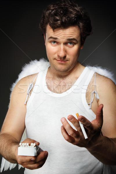 天使 タバコ クレイジー 文字 肖像 顔 ストックフォト © dashapetrenko