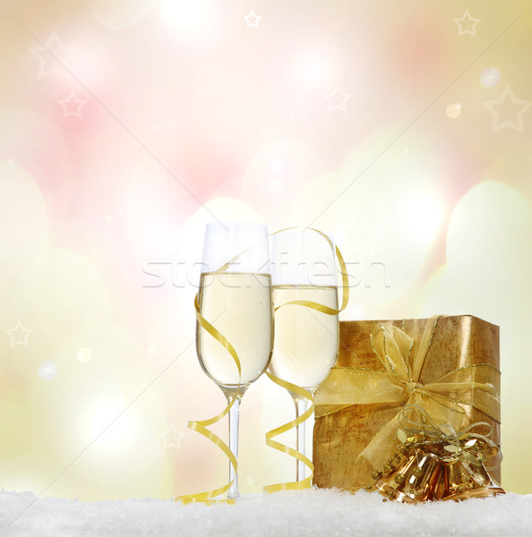 Stock photo: Christmas still life with champagne