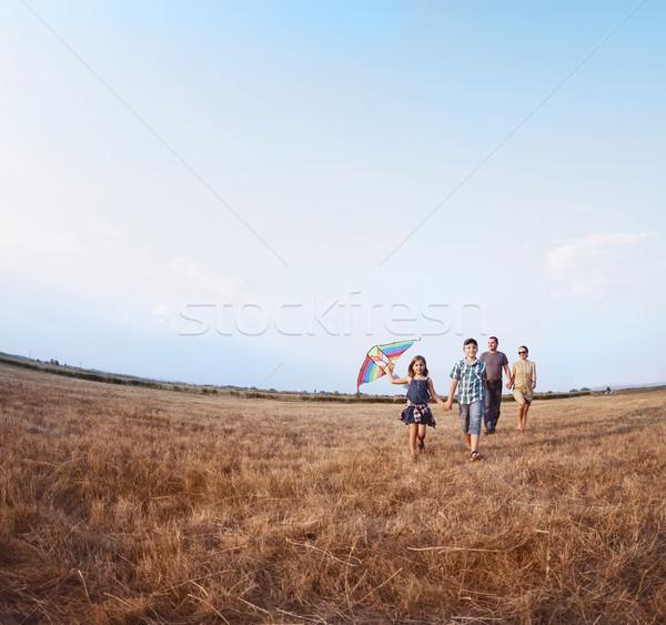 Család játszik papírsárkány nyár mező nő Stock fotó © dashapetrenko
