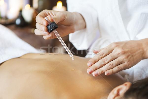 Genç kadın terapi geri masaj yüz Stok fotoğraf © dashapetrenko