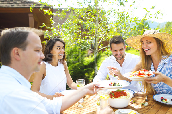 Dinner variety of Italian dishes and lemonade in the garden Stock photo © dashapetrenko